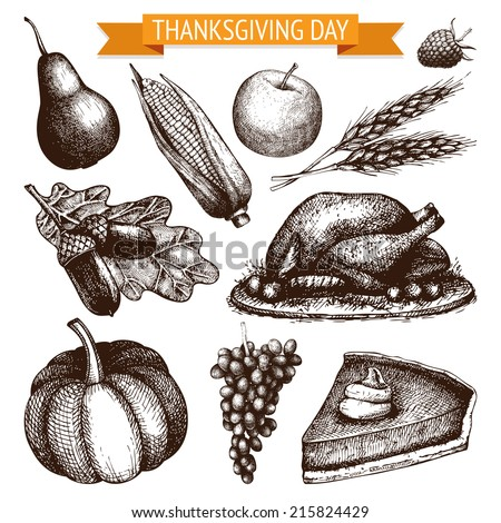 Vector collection of ink hand drawn thanksgiving day illustration. Vintage turkey day sketch set. - stock vector