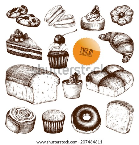 Vector collection of  ink hand drawn vintage breads and pastries illustration isolated on white background for restaurant or bakery menu.  - stock vector