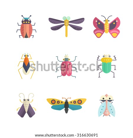 Vector collection of insects made in modern flat style. Colorful bugs for your design. Nature elements made in vector. - stock vector