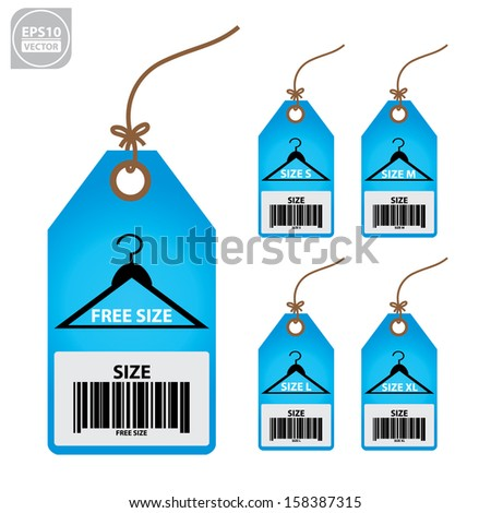 Vector: Collection of isolated clothing size blue labels. - stock vector