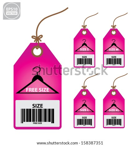 Vector: Collection of isolated clothing size pink labels. - stock vector