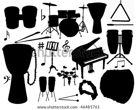 vector collection of isolated percussion instruments - stock vector