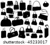 vector collection of isolated travel suitcase and bag silhouette - stock vector