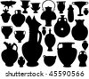 vector collection of isolated vase silhouette - stock vector