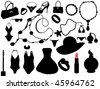 vector collection of isolated women accessories silhouette - stock vector