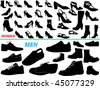 vector collection of isolated women and men shoes silhouettes - stock vector