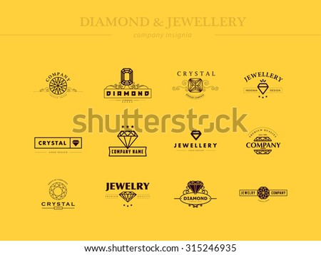 Vector collection of jewellery and diamond logos. Flat crystal company insignia template. Vintage logo design. - stock vector
