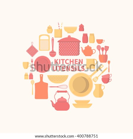 Vector collection of kitchen utensils for cooking. Set of kitchen icons. Kitchen tools. Set of vector elements for the kitchen. Illustration in flat style. - stock vector