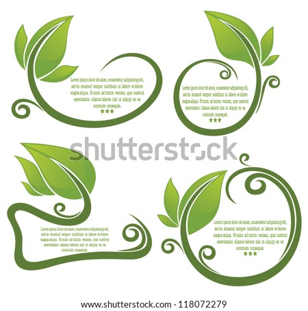 vector collection of leaf frame and form for your text - stock vector