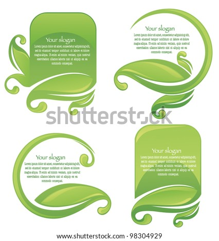 vector collection of leaf frames and stickers - stock vector