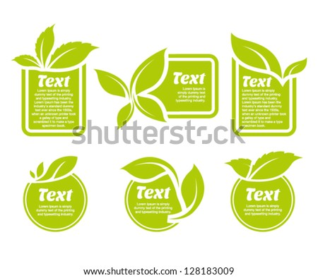 vector collection of leaf frames, icon, labels and stickers - stock vector
