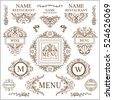 Vector collection of logotypes, logo, sign, emblem for cafe, restaurant. Good for label, menu, wine card, web icon for site. Hand drawn elements for design: vine, grapes, leaves. Classic style element