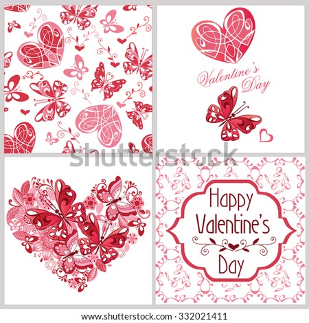 Vector collection of love cards template. Decorative elements and patterns. Graphic illustrations for posters or postcards. - stock vector