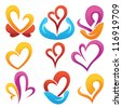 vector collection of love concept,  labels and forms - stock photo
