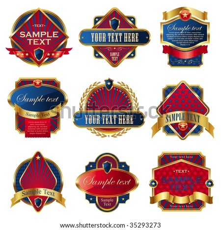 Vector collection of luxury usa labels - stock vector