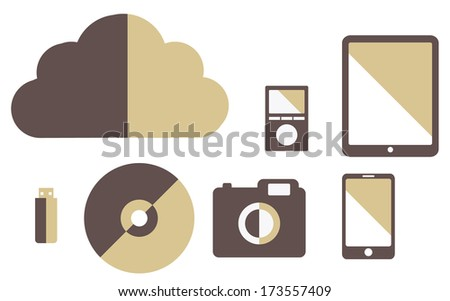 vector collection of media gadgets vintage color cloud, tablet, flash drive, smartphone, camera, player - stock vector