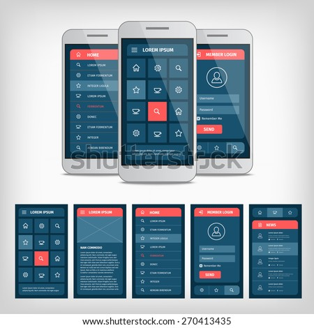 Vector collection of modern flat design. Conception of mobile user interface. EPS10 illustration. Mobile app ui kit. - stock vector