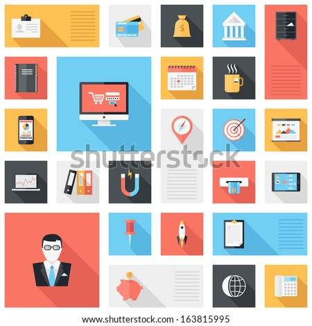 Vector collection of modern, simple, flat and trendy business and office icons with long shadow. - stock vector