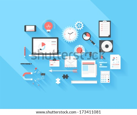 Vector collection of modern trendy flat business and office icons on blue background with long shadow. - stock vector