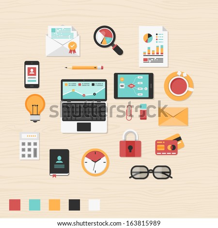 Vector collection of modern trendy flat business and office icons on table. - stock vector