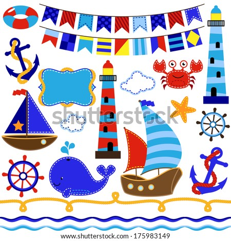 Vector Collection of Nautical and Sailing Themed Elements - stock vector