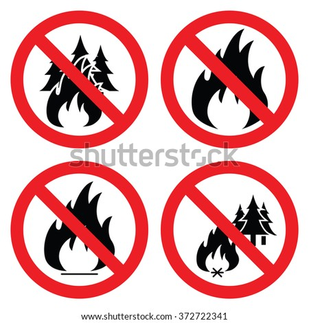 vector collection of no forest fire icons - stock vector