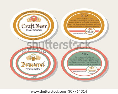 Vector Collection Of Oktoberfest Hand Drawn Logo Templates. German Brew  House, Beer Logotypes.