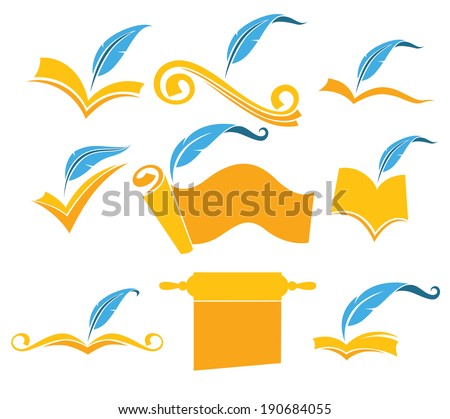 vector collection of old books, parchment, poetry, literature and history symbols - stock vector