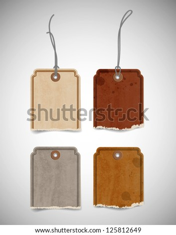 Vector collection of old paper torn price tags