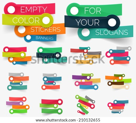 Vector collection of paper sticker banners - empty sticky line compositions set for your keywords and slogans - stock vector