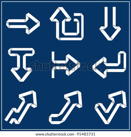 Vector collection of paper white arrows on blue background