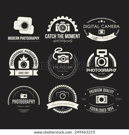 Vector collection of photography logo templates. Photocam logotypes. Photography vintage badges and icons. Modern mass media icons. Photo labels.   - stock vector