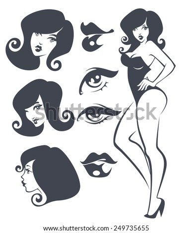 vector collection of pinup girls and faces - stock vector