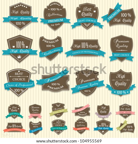 Vector collection of Premium Quality labels - stock vector