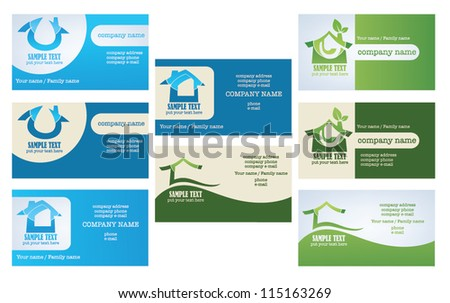 vector collection of property and real estate business cards - stock vector