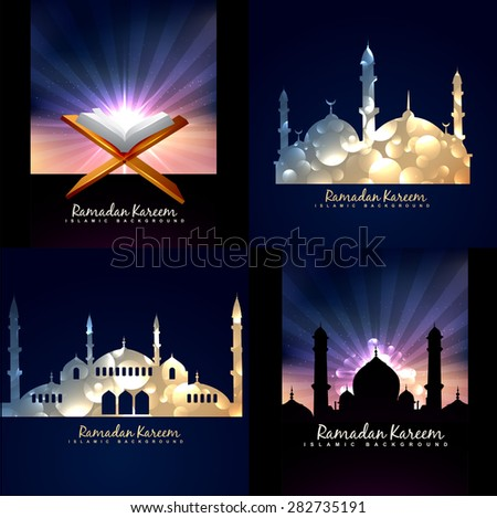 vector collection of ramadan kareem background festival of muslim with mosque illustration - stock vector