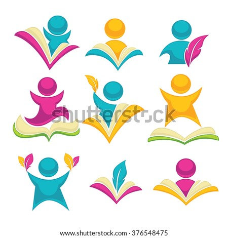 vector collection of reading and writing symbols, books and education icons