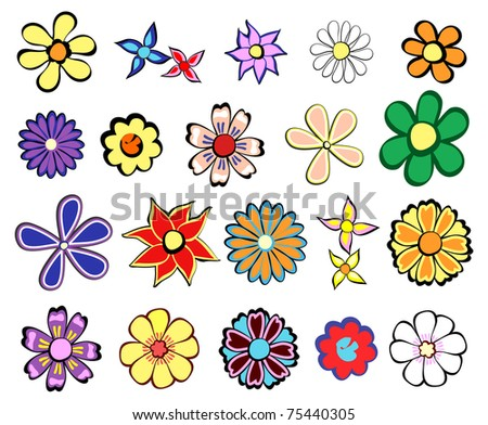 Vector collection of retro flowers - stock vector