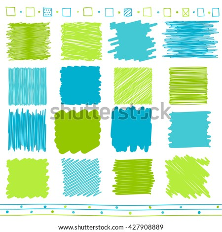 Vector collection of retro scribbled lines with hand drawn style of green and blue color