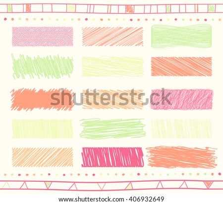 Vector collection of retro scribbled lines with hand drawn style of green and orange and magenta colors - stock vector