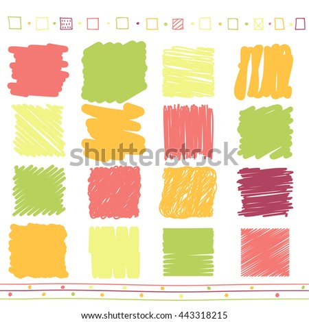 Vector collection of retro scribbled lines with hand drawn style of of green, orange, pink and red color