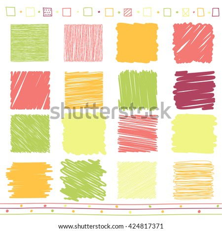 Vector collection of scribbled lines with hand drawn style of green, orange, pink and purple color - stock vector