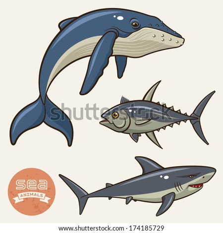 Vector collection of sea animals isolated on a light background. Whale, shark and tuna - stock vector