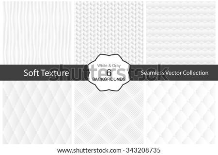 Vector collection of seamless white decorative textures.  - stock vector