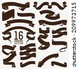 Vector collection of sixteen dark brown decorative retro looking text ribbons, strips and tapes of different shapes | Large vector set of flat decorative ribbons and banners for your text decoration - stock vector