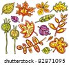 Vector collection of sketches - decorative leaves - stock vector