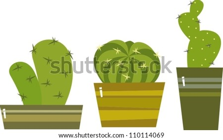 vector collection of small cactuses in a pots - stock vector