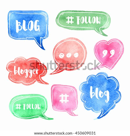 Vector collection of speech bubbles with phrases Blog, Blogger. Hand drawn watercolor blog label with hashtag. Social media icons set. - stock vector