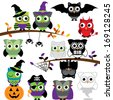 Vector Collection of Spooky Halloween Owls - stock vector