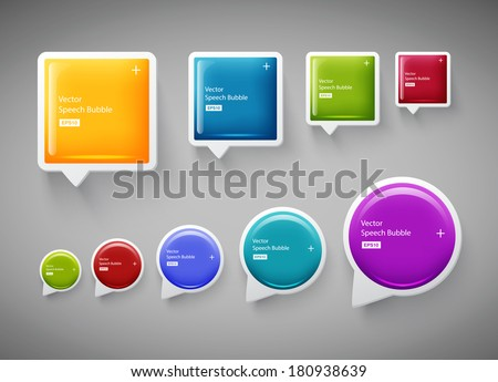 Vector collection of square and round plastic glossy speech bubbles - stock vector
